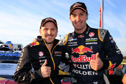 Qualifying race 2 winners Paul Dumbrell and Jamie Whincup