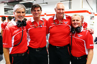 (L to R): Damon Hill, Sky Sports Presenter with Graeme Lowdon, Marussia F1 Team Chief Executive Officer; John Booth, Marussia F1 Team Team Principal; and Johnny Herbert, Sky Sports F1 Presenter