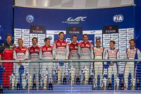 LMP1 class podium: first place Marcel Fässler, Andre Lotterer, Benoit Tréluyer, second place Lucas Di Grassi, Loic Duval, Tom Kristensen, third place Anthony Davidson, Nicolas Lapierre, Sébastien Buemi