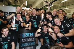 Nico Rosberg, Mercedes AMG F1 celebrates winning the 2014 Constructors Championship with the team