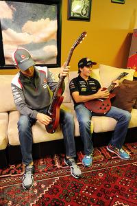 (L to R): Esteban Gutierrez, Sauber with Sergio Perez, Sahara Force India F1 at the Fans' Forum