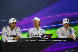 The post qualifying FIA Press Conference: Lewis Hamilton, Mercedes AMG F1, second; Nico Rosberg, Mercedes AMG F1, pole position; Valtteri Bottas, Williams, third