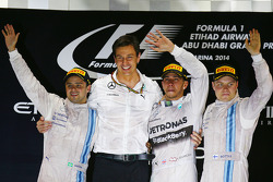 Podium: race winner and 2014 World Champion Lewis Hamilton, Mercedes AMG F1, second place Felipe Massa, Williams F1 Team, third place Valtteri Bottas, Williams F1 Team, Toto Wolff, head of Mercedes AMG F1