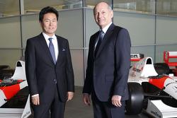Yasuhisa Arai, head of Honda Motorsport, Jenson Button, Kevin Magnussen, Fernando Alonso and Ron Dennis, Chairman & CEO of McLaren