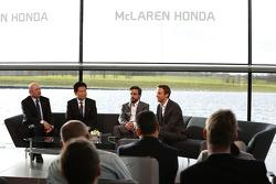 Yasuhisa Arai, head of Honda Motorsport, Jenson Button, Fernando Alonso and Ron Dennis, Chairman & CEO of McLaren