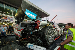#15 Glorax Racing Ferrari 458 Italia GT3 back in the pit after a crash