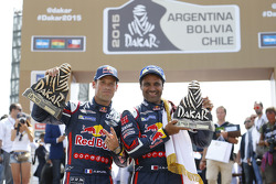 Car category podium: winners Nasser Al-Attiyah, Mathieu Baumel