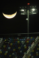 The moon over Daytona International Speedway