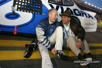 Mark Martin and Jack Roush share a laugh on the starting grid