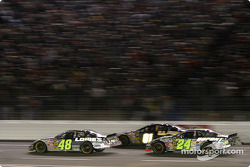 Jimmie Johnson, Joe Nemechek and Jeff Gordon battle for the lead