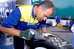 Michelin technician prepares the tires