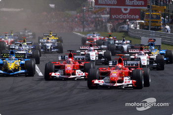 Start: Michael Schumacher takes the lead ahead of Rubens Barrichello and Fernando Alonso