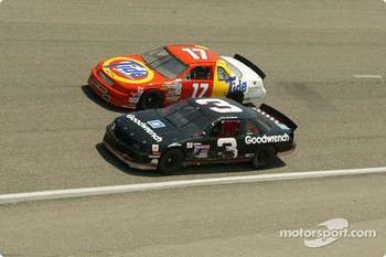 Racing scene featuring Dale Earnhardt and Darrell Waltrip