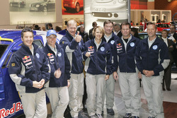 Volkswagen team presentation: the Volkswagen works team with Bruno Saby, Jutta Kleinschmidt, Juha Kankkunen, Fabrizia Pons, Juha Repo, Robby Gordon and Motorsport Director Kris Nissen