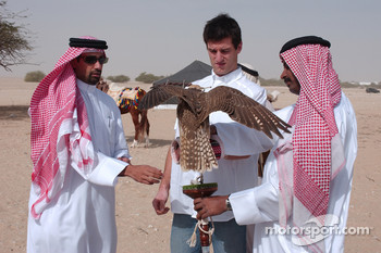 Mark Webber with a falcon