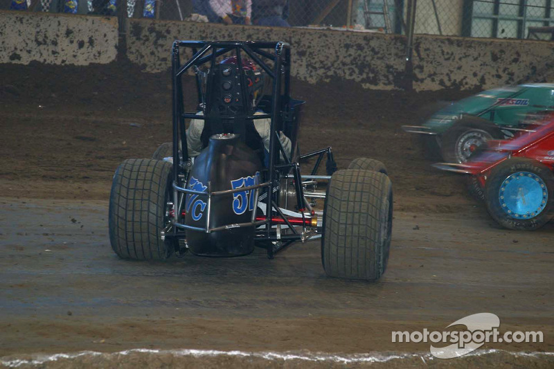 Bryan Clauson s car sits sidways in corner 2 at Chili Bowl