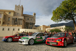 The cars of the first 2005 WRC podium