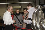 Visitors are shown exhaust parts in Fabrication