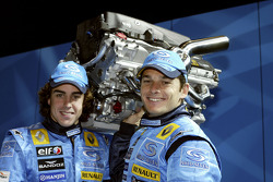 Fernando Alonso and Giancarlo Fisichella on stage