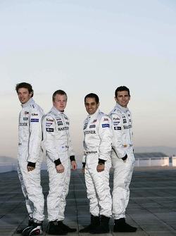 Alexander Wurz, Kimi Raikkonen, Juan Pablo Montoya and Pedro de la Rosa