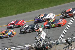 Green flag: Dale Jarrett and Jeff Gordon fight for the lead