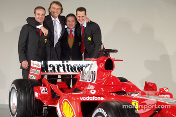 Rubens Barrichello, Luca di Montezemelo, Jean Todt and Michael Schumacher with the new Ferrrari F2005