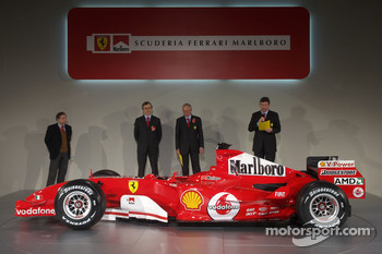 Jean Todt, Paolo Martinelli, Rory Byrne and Ross Brawn with the new Ferrrari F2005