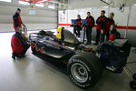 Arden International team members work on GP2 car