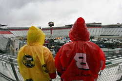 NASCAR fans look on empty grandstands