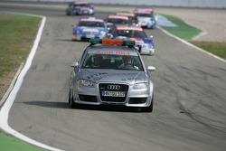 The Audi RS4 Safety Car lead the DTM cars on a red flag simulation