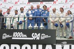 LMP1 podium: race winners Hayanari Shimoda, John Nielsen and Casper Elgaard, with Jean-Christophe Boullion, Erik Comas, Emmanuel Collard, and Martin Short, Rob Barff, Vanina Ickx