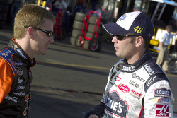 Jimmie Johnson swaps stories with Jeff Burton