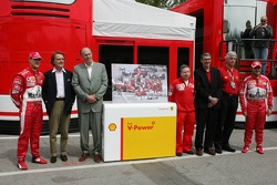 Shell media event: Michael Schumacher, Luca di Montezemelo, Jean Todt and Rubens Barrichello