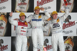 Podium: race winner Gary Paffett with Tom Kristensen and Mika Hakkinen