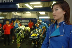 A lovely hostess in the Yamaha pitbox
