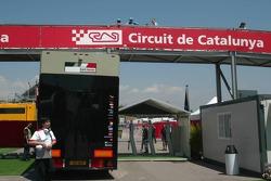 BAR-Honda transporters leave Circuit de Catalunya