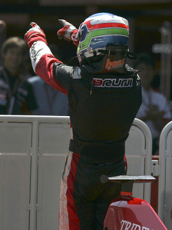 Race winner Gianmaria Bruni celebrates