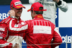 Podium: Michael Schumacher and Rubens Barrichello