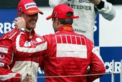 Podium: Michael Schumacher and Rubens Barrichello