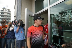 Kimi Raikkonen comes out of the Michelin meeting