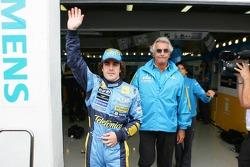 Pole winner Fernando Alonso celebrates with Flavio Briatore