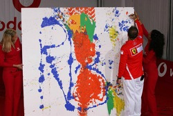 Vodafone event at Hockenheim Talhaus: Rubens Barrichello signs his artwork