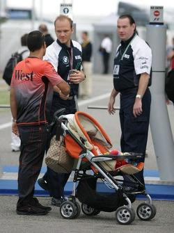 Juan Pablo Montoya with baby boy Sebastian
