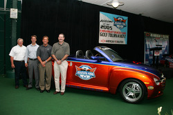Gary Mulder, GM Performance Division, Mel Harder (IMS), Terry Angstadt (IMS, Larry Deas (DuPont) with the 2006 Chevy SSR Pace Vehicle for the Allstate 400 at the Brickyard