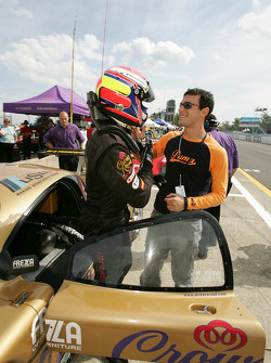 Pole winners Fabrizio Gollin and Matteo Bobbi celebrate