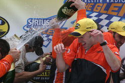 Victory lane: champagne shower for everybody
