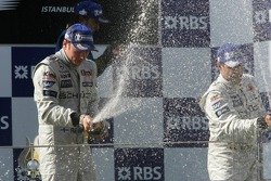 Podium: champagne for Kimi Raikkonen, Fernando Alonso and Juan Pablo Montoya