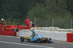 Giancarlo Fisichella gets out of his car
