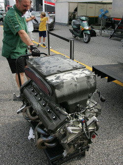 Engine out of the #57 Aston Martin DB9