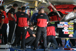 Hendrick Motorsports crew members still in the garage